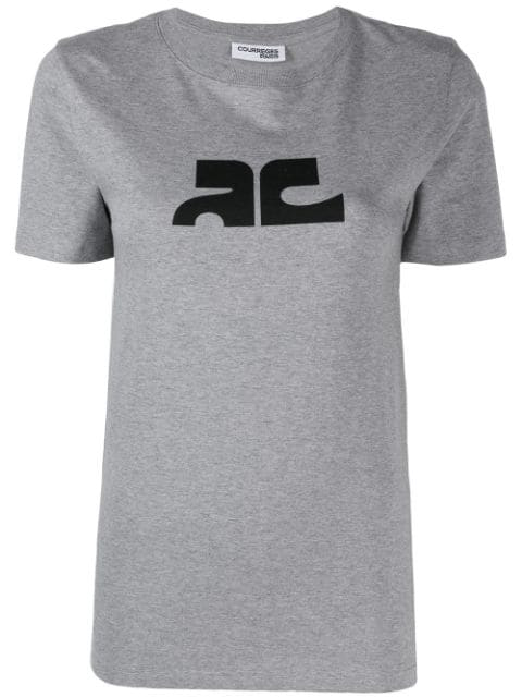 CourrÈGes Contrast Logo T-Shirt In Grey