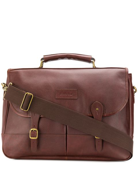 Barbour Foldover Buckled Strap Briefcase In Brown