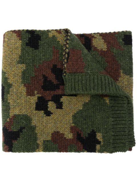 Miu Miu Camouflage Print Knitted Scarf In Green
