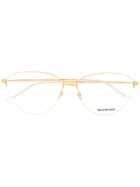 Balenciaga Oval-frame Glasses In Gold