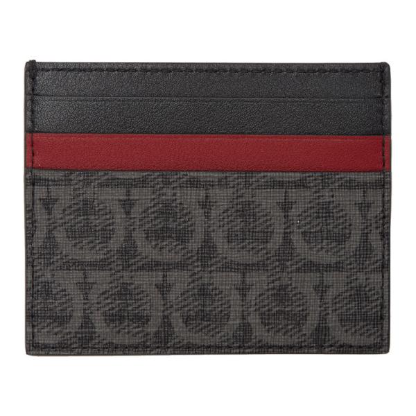 Salvatore Ferragamo Leather Card Holder In 001 Blk/Gry