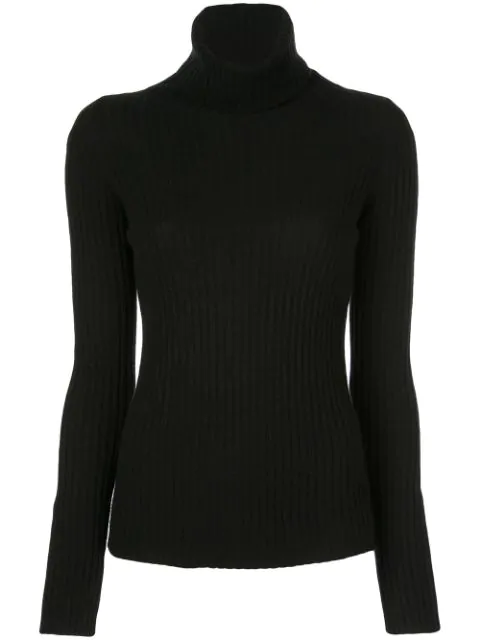 Nili Lotan Ribbed Knit Sweater In Black