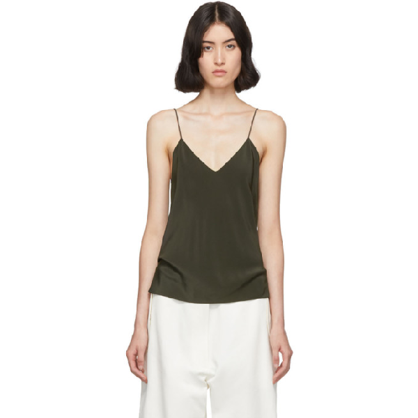 The Row Khaki Prima Tank Top In Dfg Dark Fo