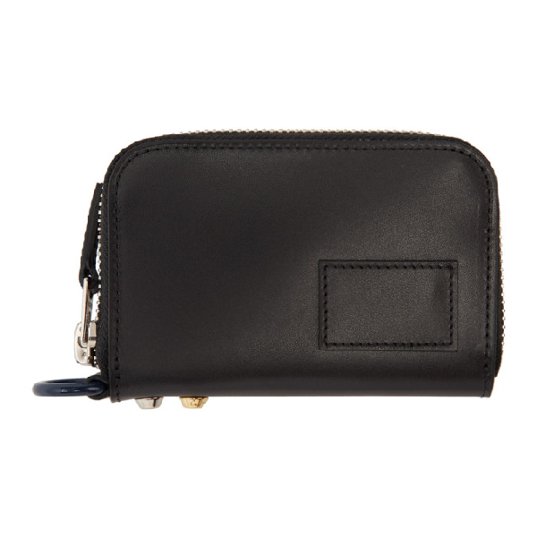 Sacai Black Leather Small Zip Around Wallet In 001 Black