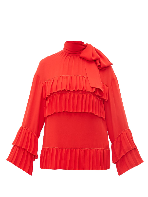 Valentino Ruffled Tie Neck Silk Georgette Blouse In Red
