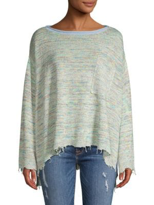 Free People Prism Space Dye Knit Pullover In Green Combo