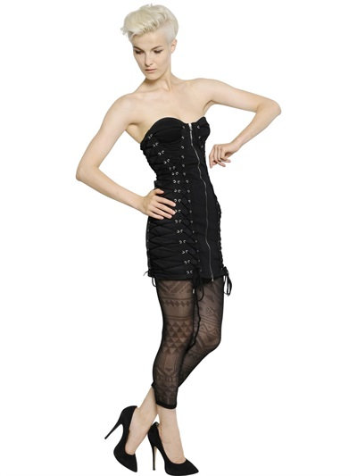 Jean Paul Gaultier Lace-Up Cotton Lace Bustier Dress In Black