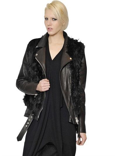 Maison Margiela Alpaca Vest With Leather & Nylon Jacket In Black