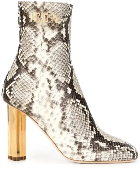Dsquared2 Maple Leaf Heel Snake Print Ankle Boots In Brown