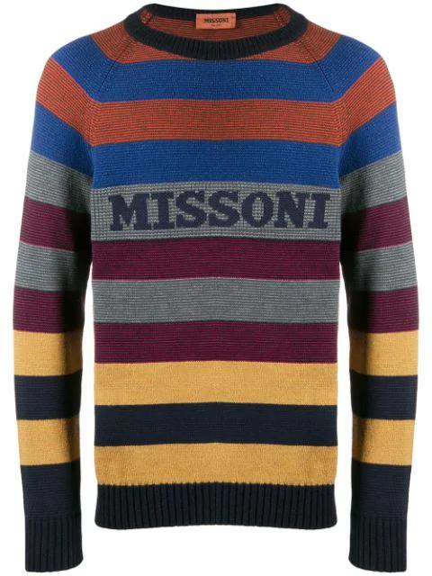 Missoni Logo Intarsia Striped Wool Blend Sweater In Sm0F7 Multi