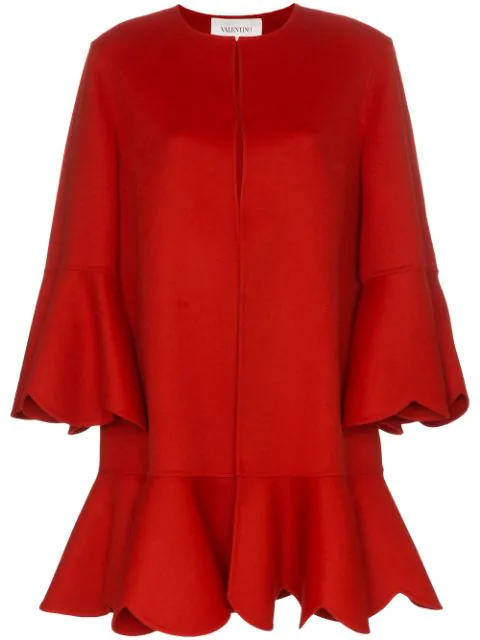 Valentino Compact Wool And Cashmere Scalloped Coat In Red