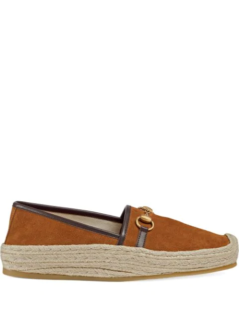 Gucci Matador Horsebit Leather-Trimmed Suede Espadrilles In Brown