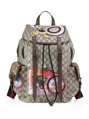 1efd9998c914 Gucci Gg Supreme Backpack With Patches, Beige/Brown In Soft Gg Supreme