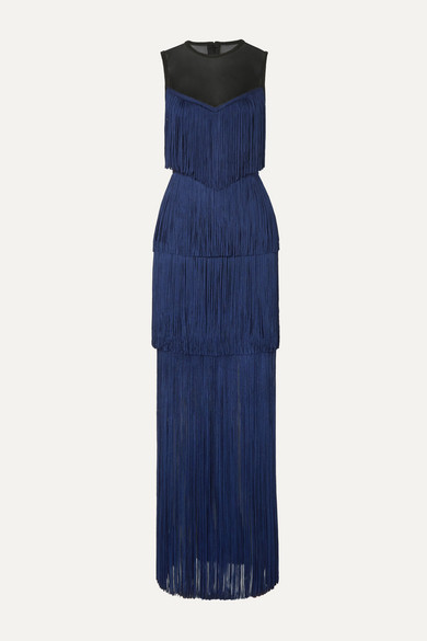 Herve Leger Tulle-paneled Fringed Bandage Gown In Midnight Blue