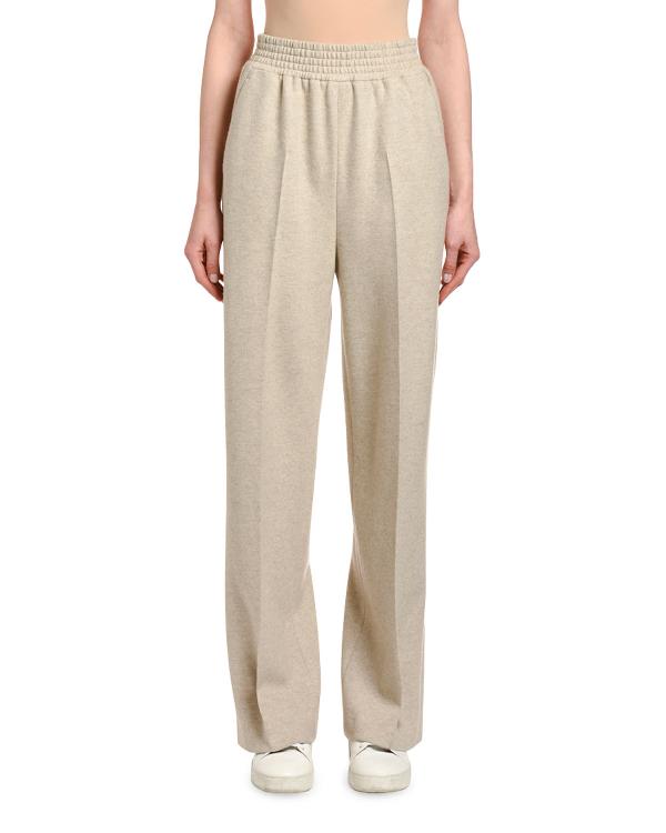 Agnona Wool-cashmere Wide-leg Sweatpants In Sand