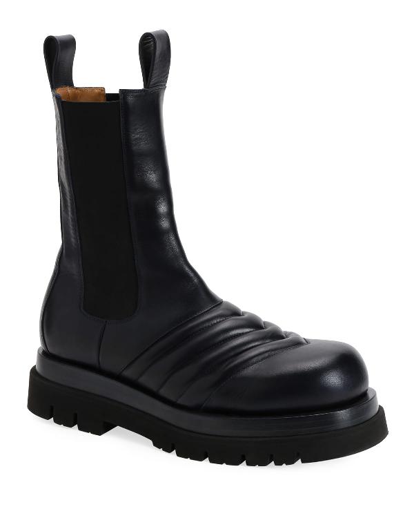 Bottega Veneta Flat Chelsea Combat Boots In Black