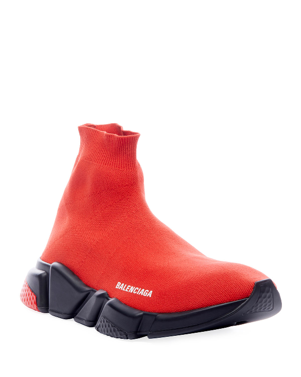 Balenciaga Men's Speed Knit High-Top Sock Sneakers In Red/Black