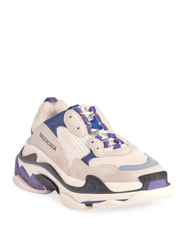 Balenciaga Men's Triple S Mesh & Leather Dad Sneakers In White/Blue