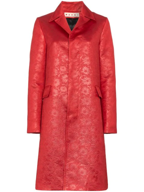 Marni Floral Embossed Coat In Red