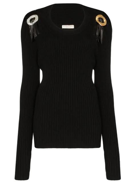 Bottega Veneta Embellished Ribbed Wool-blend Sweater In 1000 Black