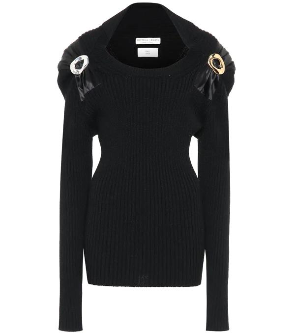 Bottega Veneta Long-sleeve Open-neck Technical Wool Sweater In 1000 Black