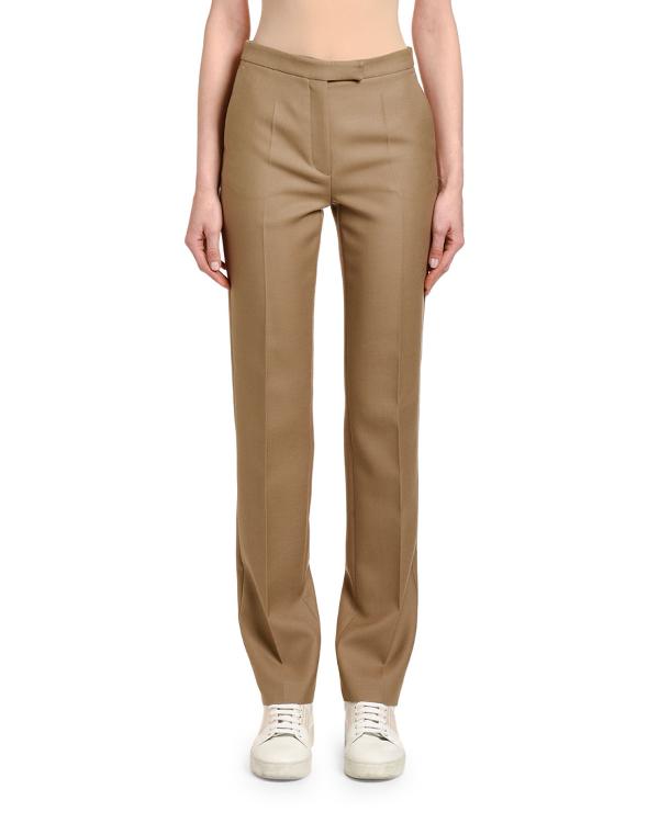 Agnona Wool Gabardine Wide-leg Pants In Brown/gray