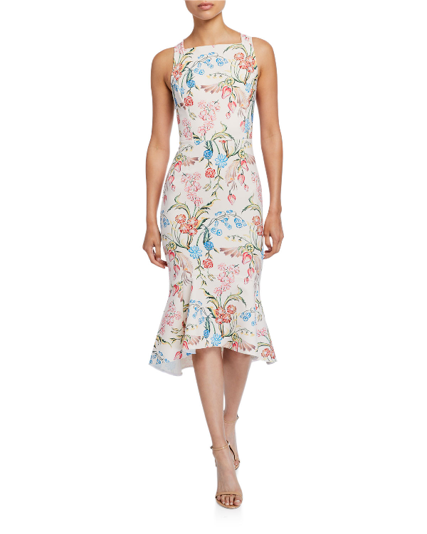 Peter Pilotto Floral-Print Cady Square-Neck Dress In White