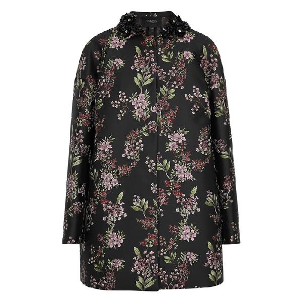 Giambattista Valli Beaded Single-Breasted Floral Jacquard Coat In Black Multi