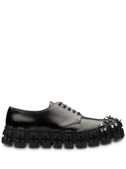 Prada Studded Cleated-sole Brushed-leather Trainers In F0002 Black