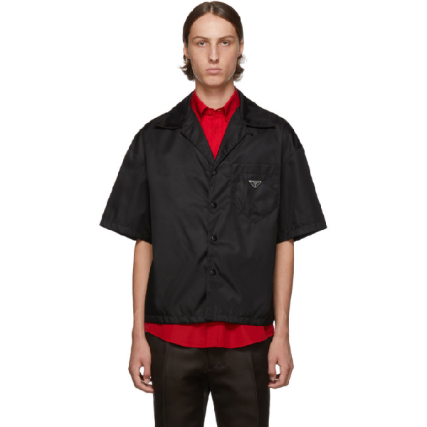 Prada Logo-plaque Nylon-gabardine Bowling Shirt In Black