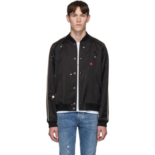 Saint Laurent Black & Multicolor Logo Teddy Bomber Jacket