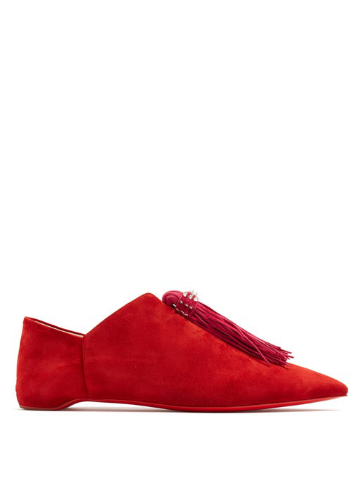 Christian Louboutin Medinana Fringed Suede Collapsible-Heel Slippers In Red Multi
