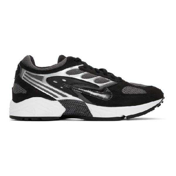Nike Air Ghost Racer Leather-Trimmed Mesh Sneakers In 002 Noir/Gris Fonce/Blanc/Noir