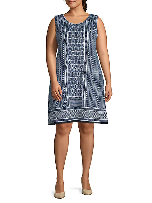 Max Studio Plus Sleeveless Printed Shift Dress In Navy Red