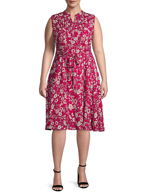 Nanette Lepore Floral-print Pintuck Shirtdress In Berry