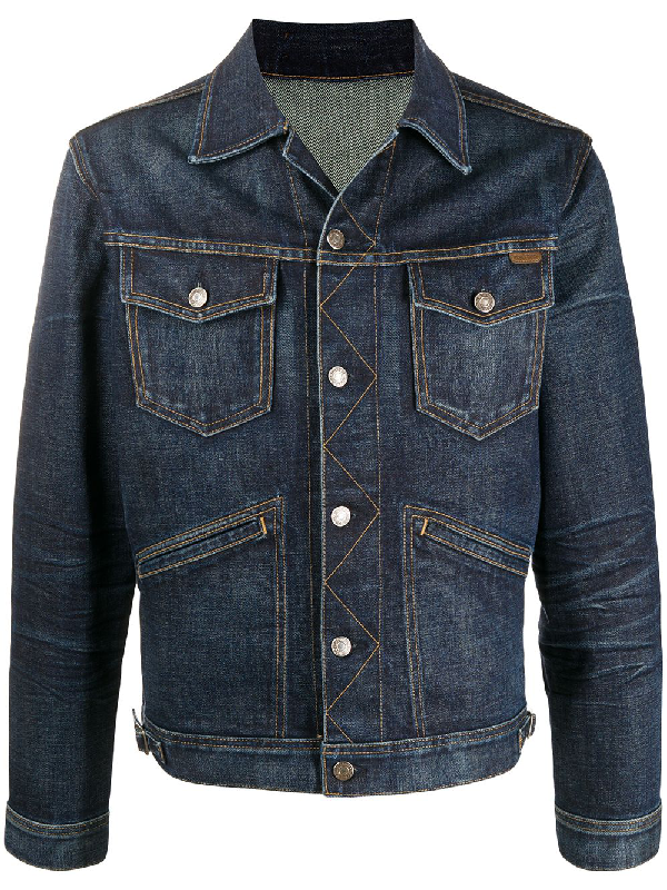 Tom Ford Icon Japanese Stretch Selvedge Jacket In Blue