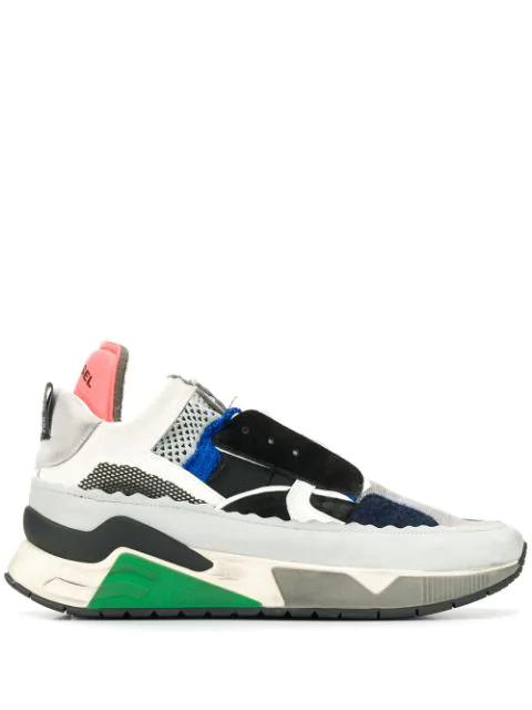 Diesel Brentha Deconstructed Mixed-Media Sneakers In H4389 Multicolor