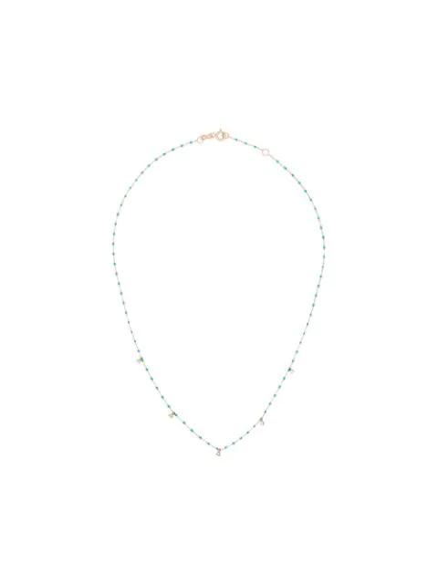 Gigi Clozeau 18k Rose Gold 42 Cm Beaded Diamond Necklace In Green