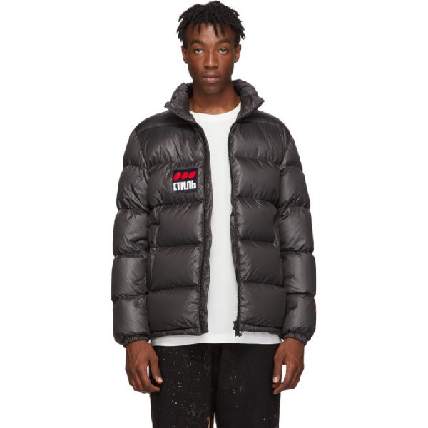 Heron Preston Ctnmb Dots Charcoal Quilted Shell Jacket In 1688 Greybr