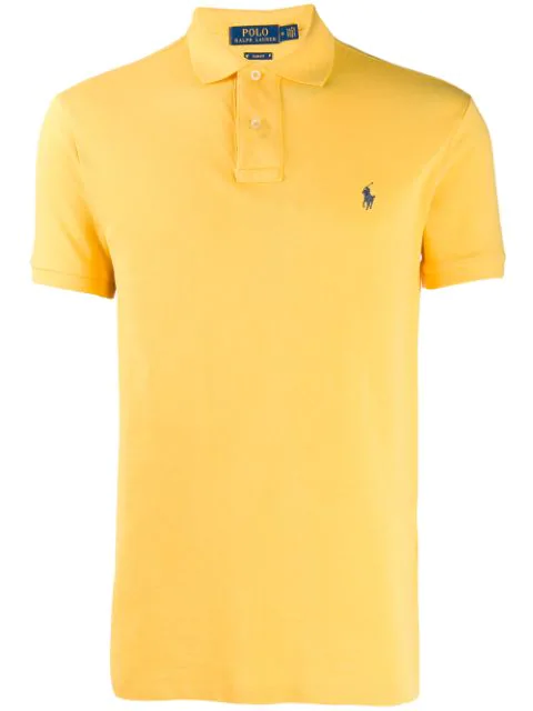 Polo Ralph Lauren Logo Embroidered Polo Shirt In Yellow