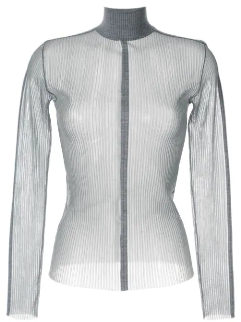 Dion Lee Sheer Fitted Top In Grey
