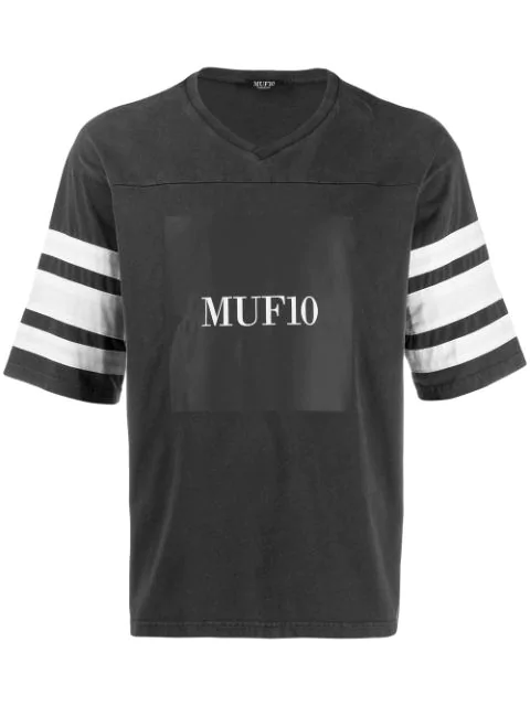 Muf 10 Striped Sleeve T-shirt In Black