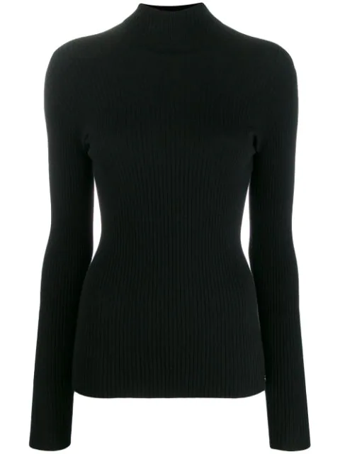 Twinset Ribbed Knit Sweater In Black