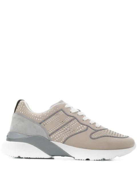 Hogan Perforated Low-Top Sneaker In Neutrals