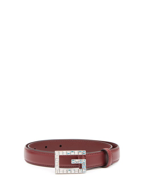 Gucci Madelyn Crystal Logo Buckle Leather Belt In Red