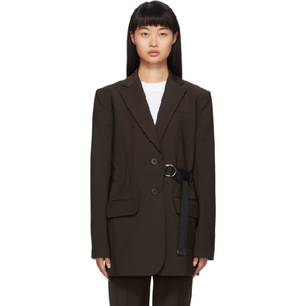 Tibi Brown Belted Wool Blazer In Darbr Drkbr