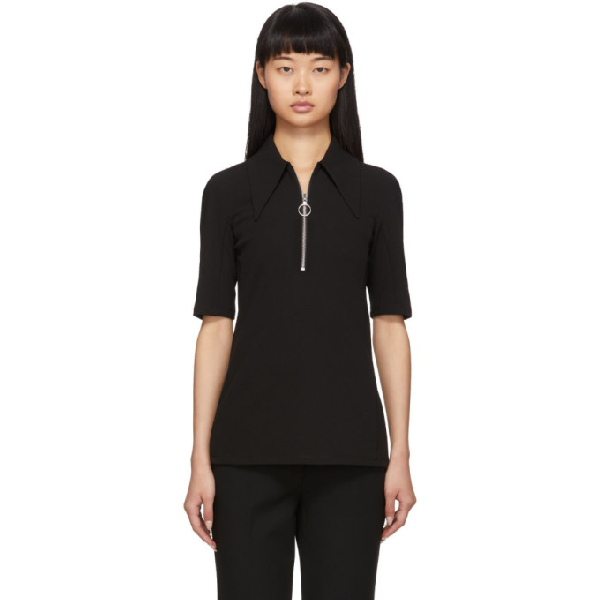 Tibi Black Crepe Structured Polo In Black Black