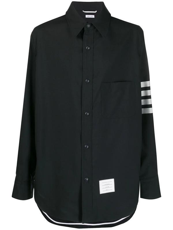 Thom Browne 4-bar Sleeve Shirt In Blue