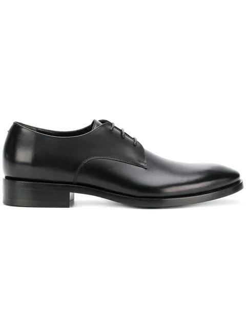 Balenciaga Rim High-Shine Leather Derby Shoes In Black