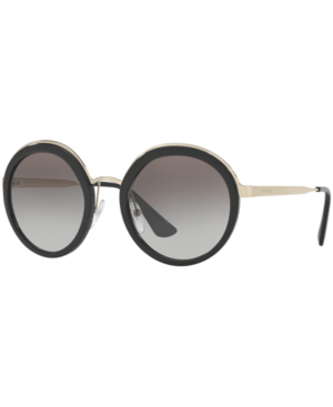 10d2dec2970 Prada Trimmed Gradient Round Sunglasses In Black
